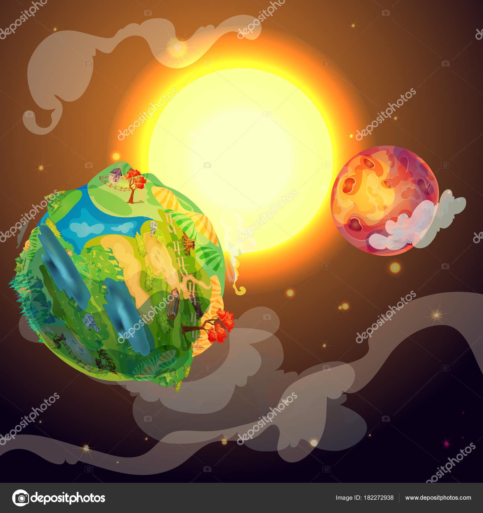 Plantilla de dibujos animados colores tierra planeta — Vector de ...