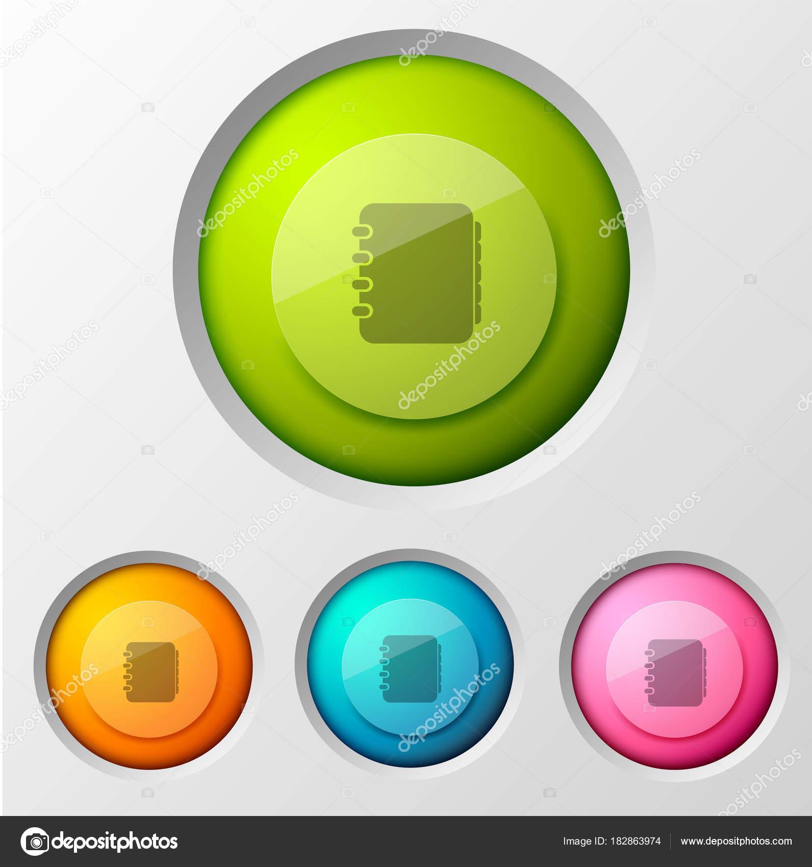 a4d978c33f Επικοινωνήστε με την επιχειρηματική ιδέα με γράφημα βιβλίο εφαρμογή  εικονόγραμμα στο πολύχρωμο στρογγυλή σύνθεση οθόνη αφής διεπαφή κουμπί  εικονογράφηση ...