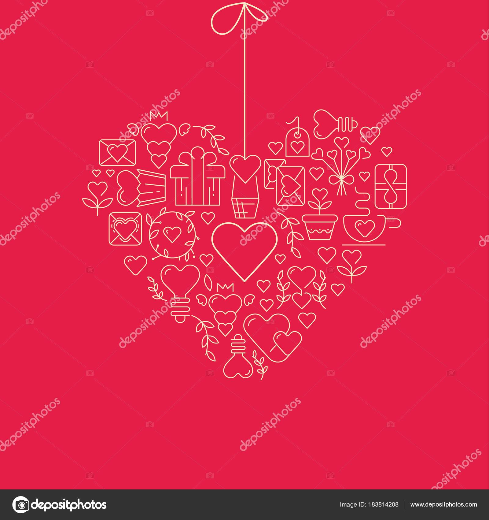 Girlande Herzen Vorlage Skizze Poster — Stockvektor © Mogil #183814208