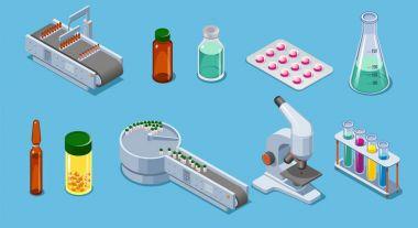 Isometric Pharmaceutical Industry Elements Set