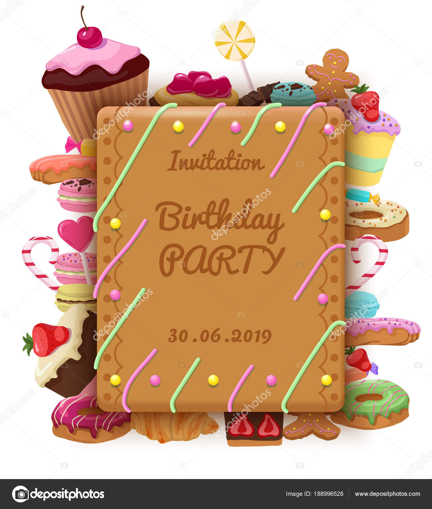Birthday invitation template with rectangular frame cakes macaroons donuts cookies lollipops croissant muffins sweet products vector illustration — Vector ...