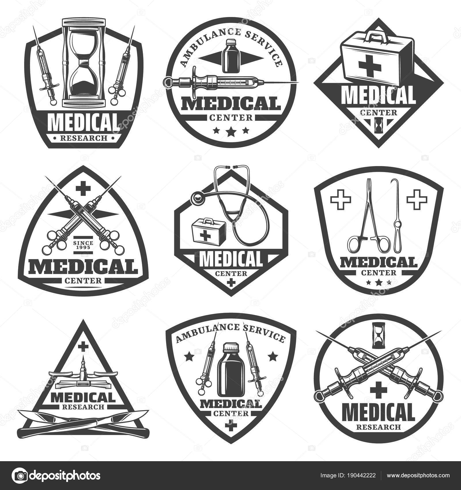 Vintage Monochrome Medical Labels Set With Hourglass Doctor Bag Syringe Stethoscope Bottle Scales Surgical Tools Isolated Vector Illustration By