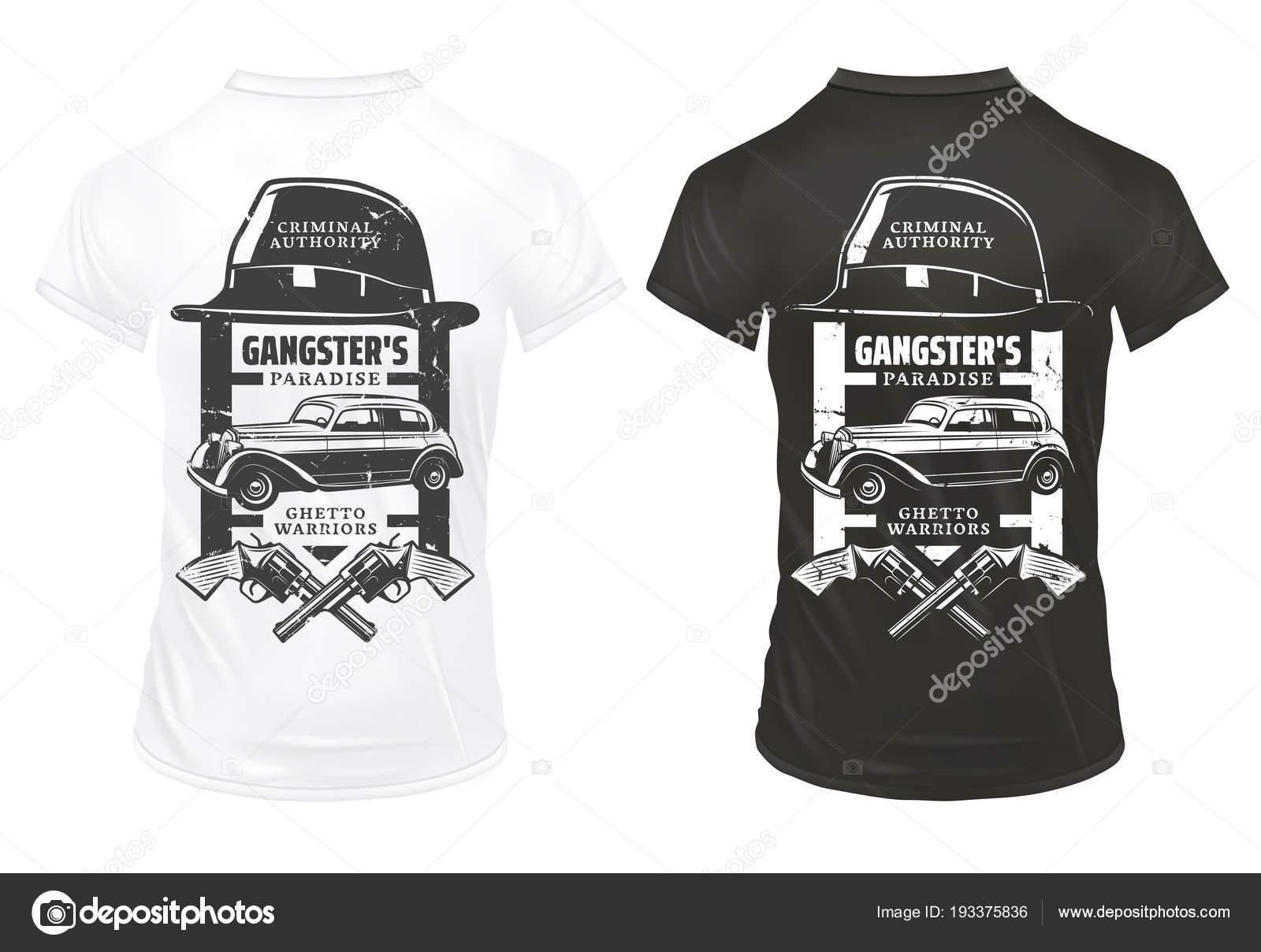 Plantilla de gángster Vintage impresiones en camisetas con inscripciones  sombrero cruzado revólveres mafia autos retro aislada vector ilustración —  Vector ... 804992a6529eb