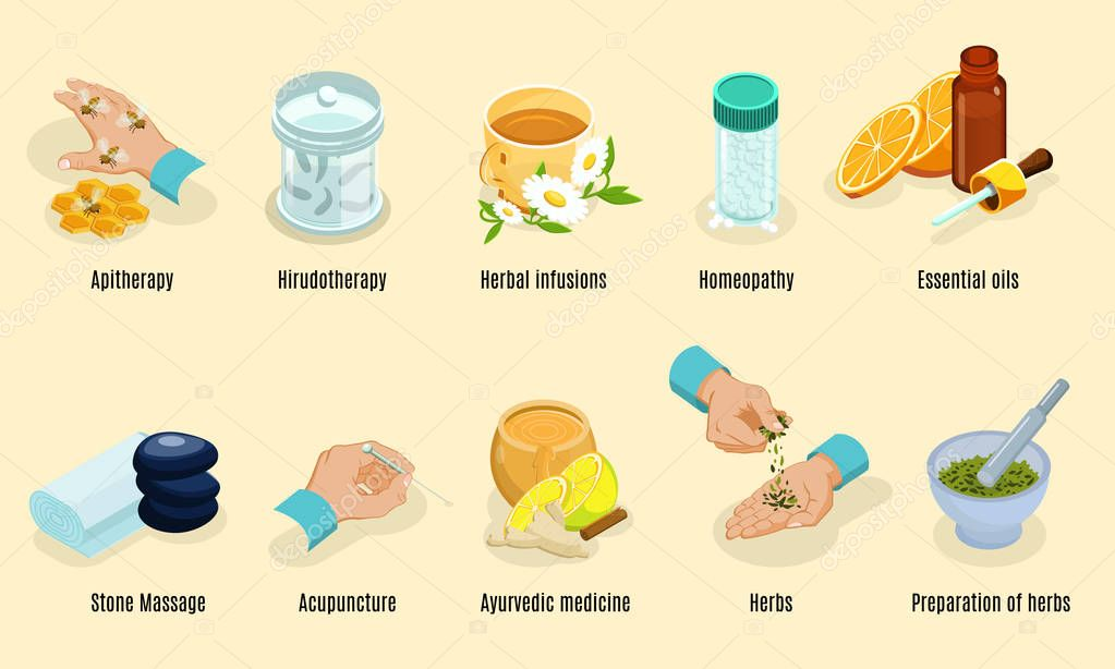 Isometric Alternative Medicine Elements Set