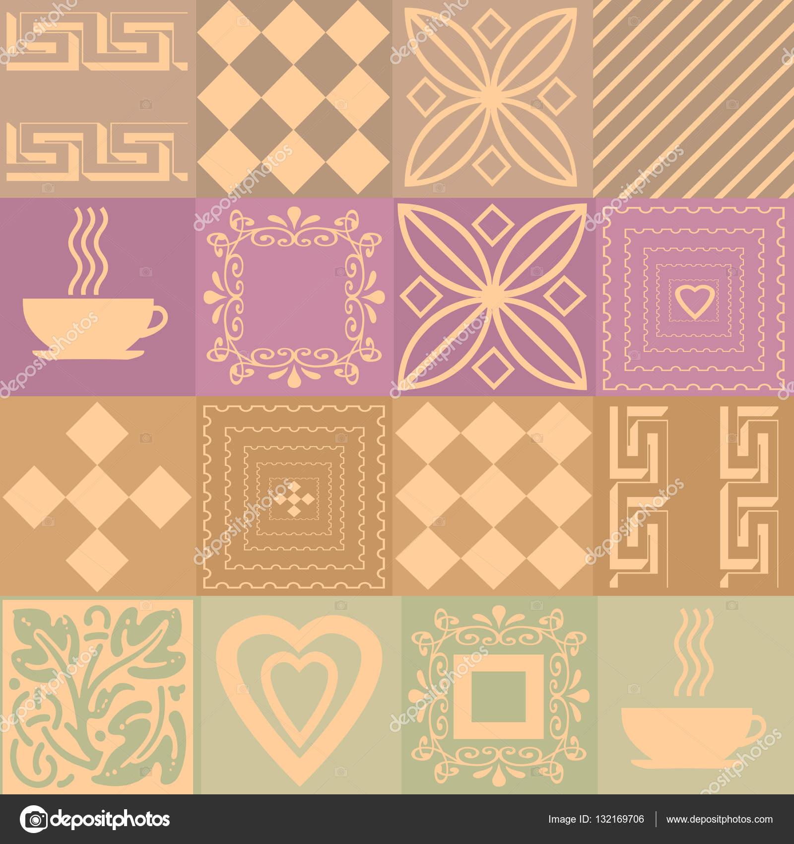 Patchwork Retro Farben Muster Mit Elementen Stockfoto Fuzzyfoxer