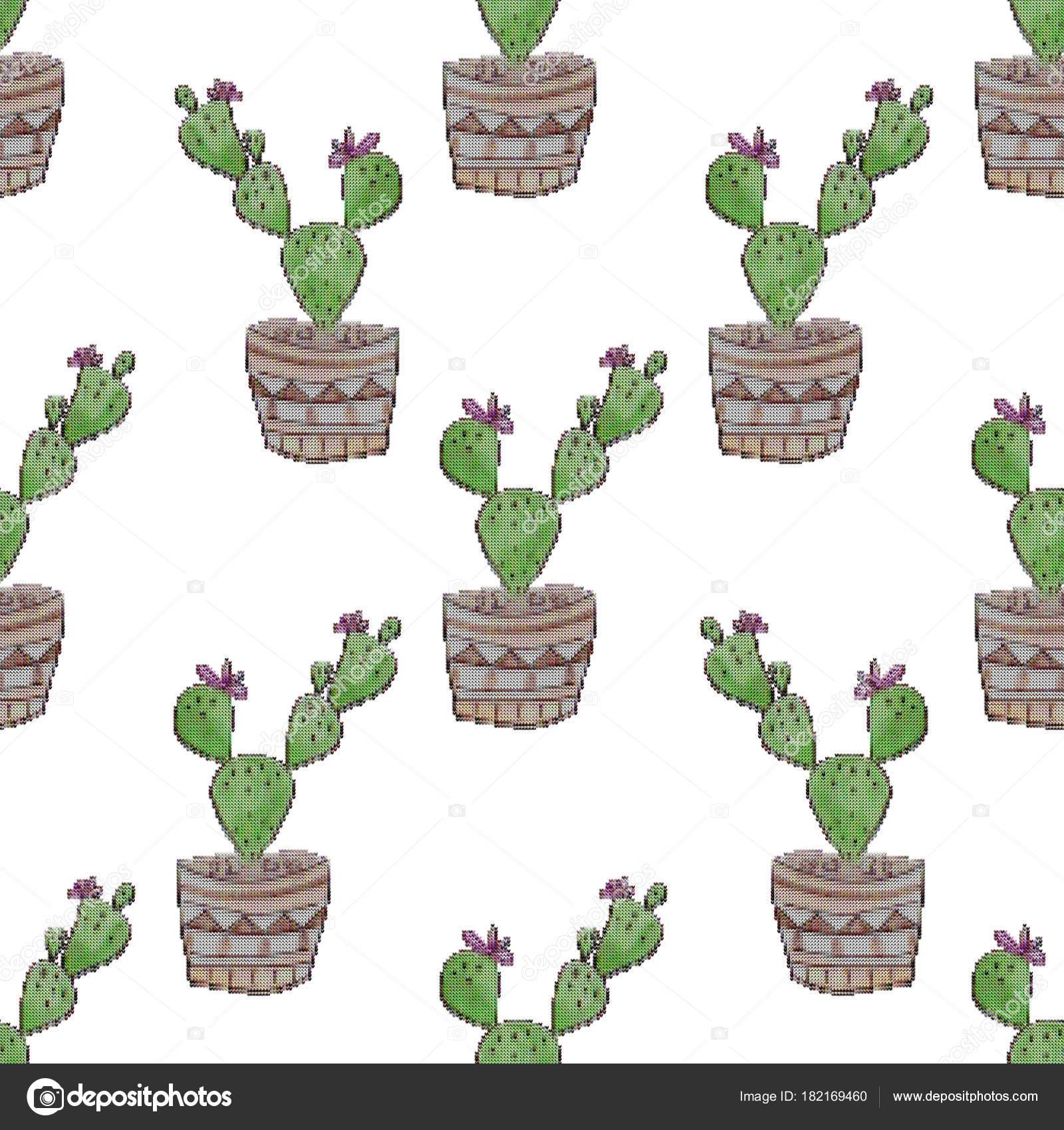 Patrones para bordar cactus | Sin Costura Bordado Punto Cruz Cactus ...
