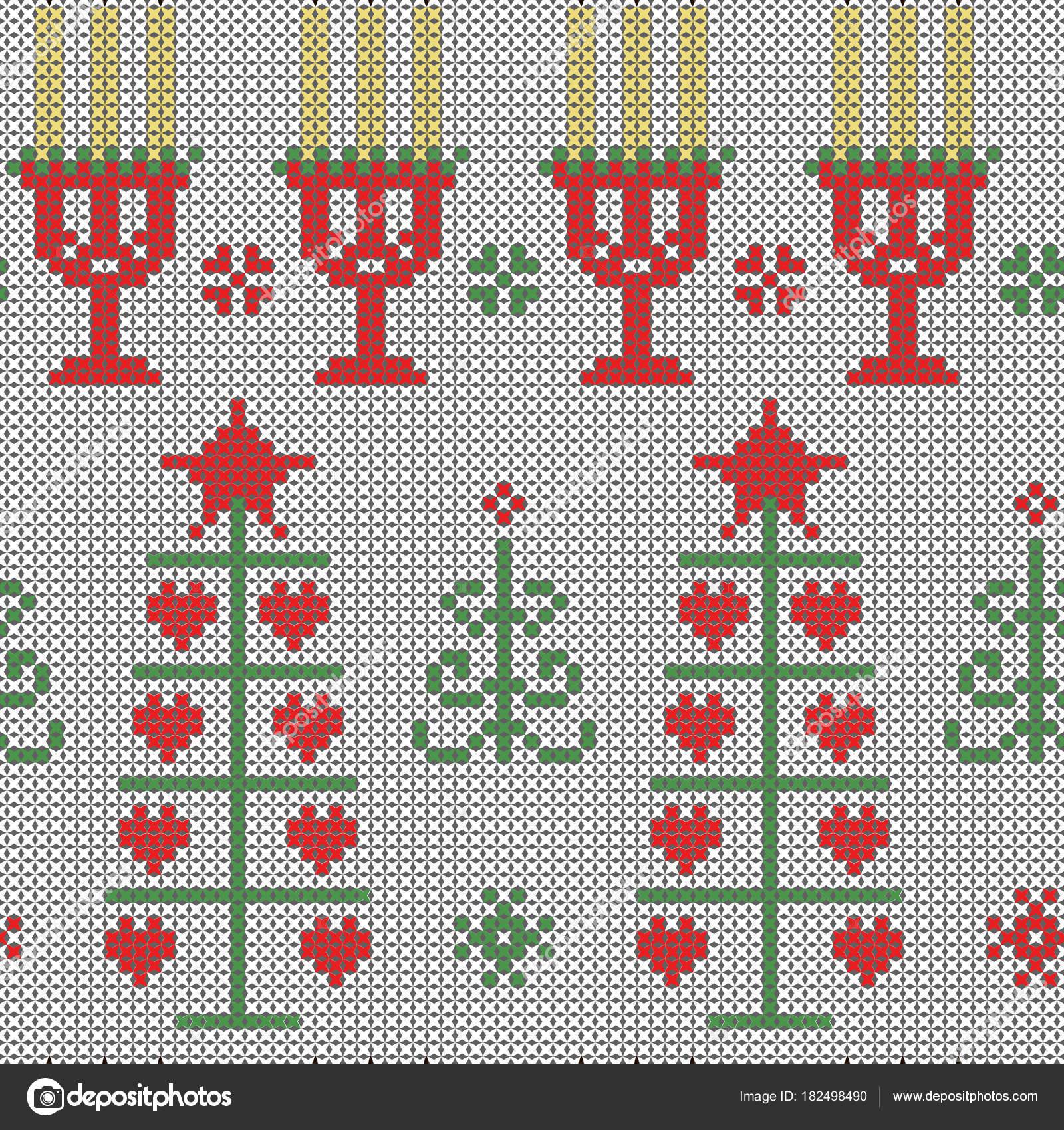 Patrón de Navidad sin costura puntadas cruzadas en blanco — Archivo ...