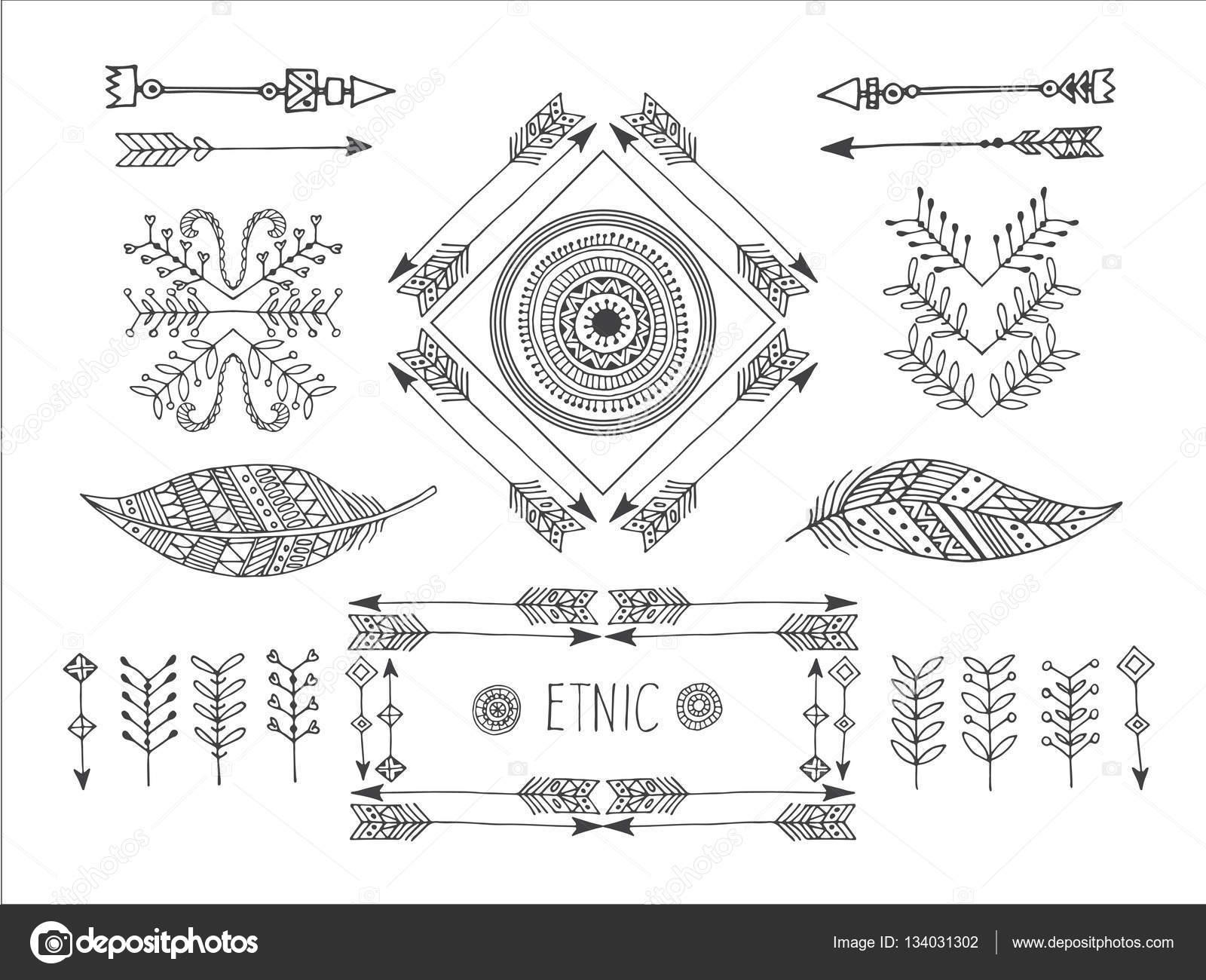 Conjunto de creativos Boho estilo Marcos mady por etnia — Archivo ...