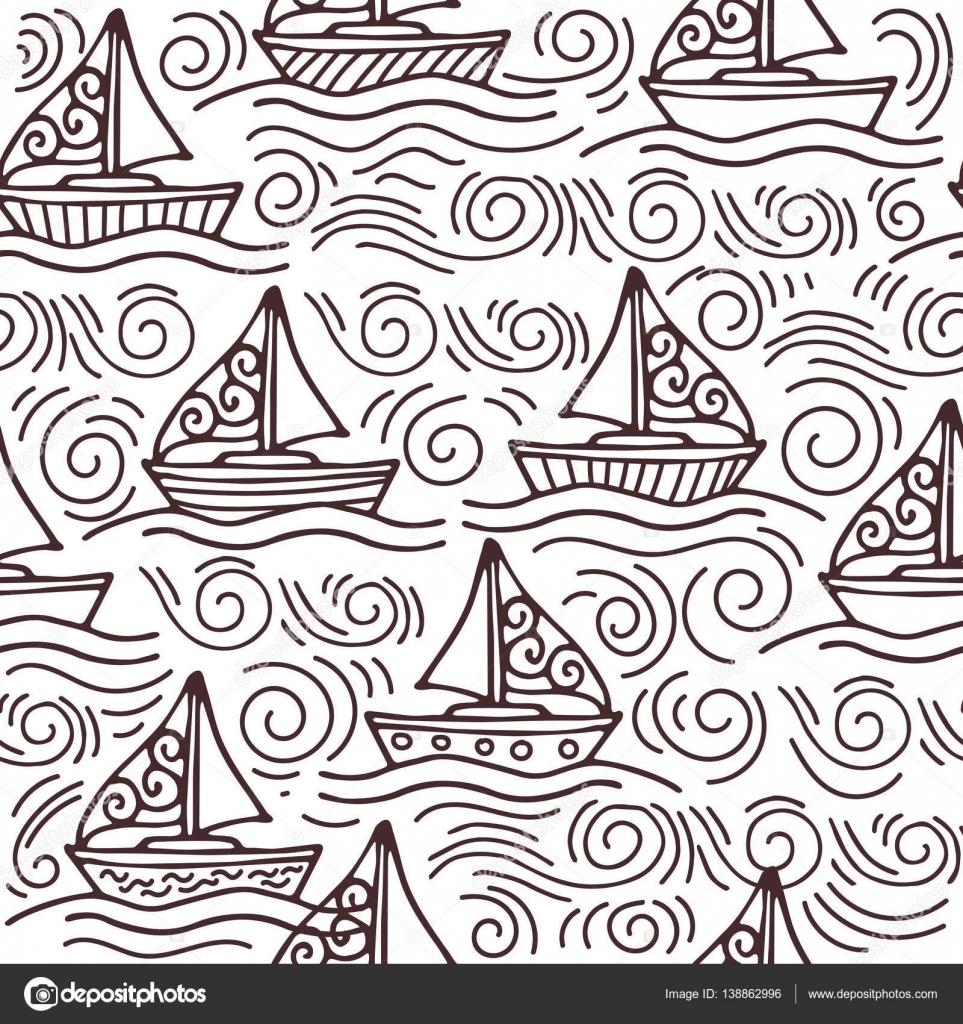 Inspirador de patrones sin fisuras con las naves y las olas del mar ...