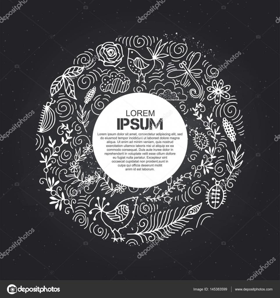 Marco para texto con verano de ornamento floral. Tablero de la tiza ...