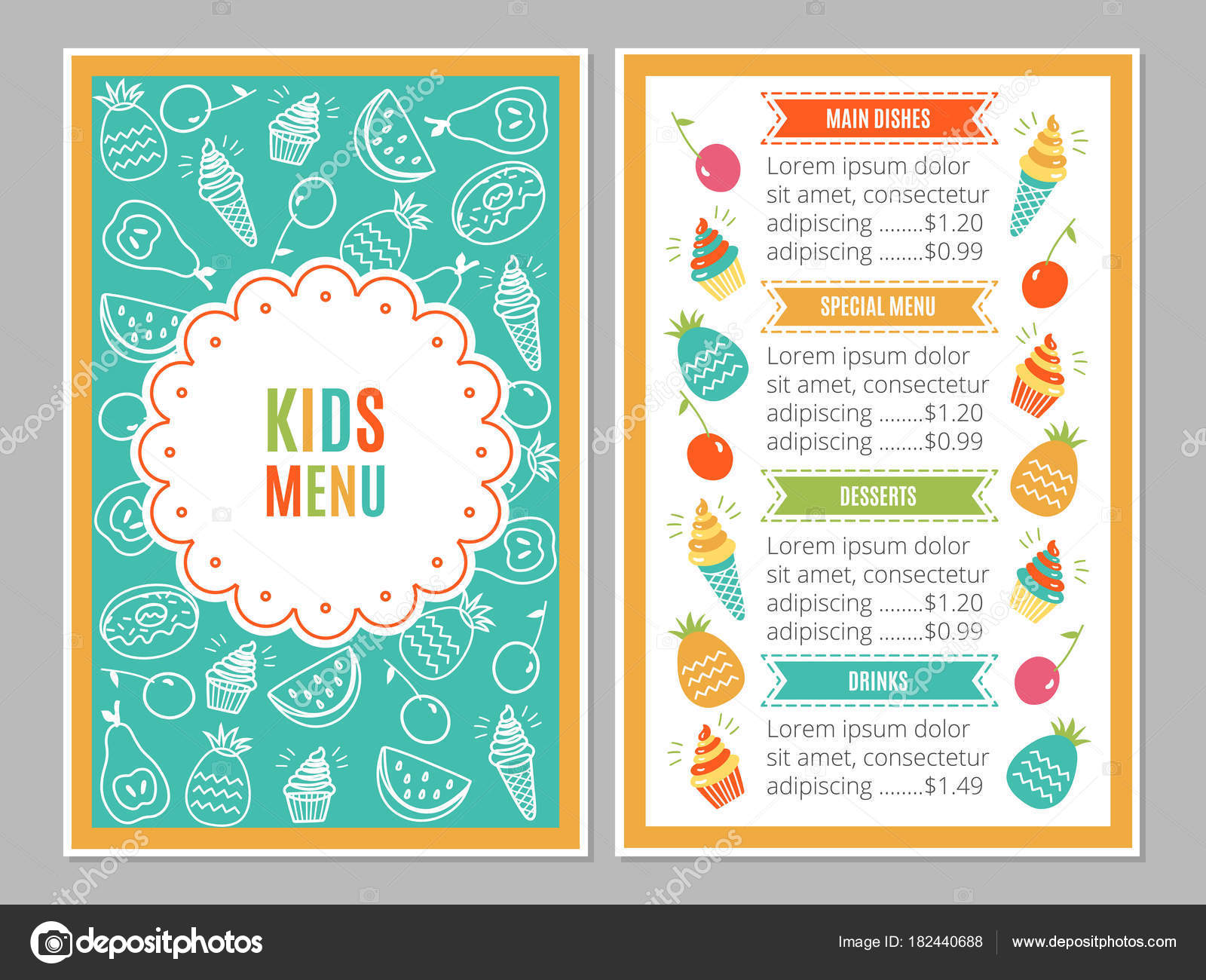 Kids Menu Template Vector Image By C Color885 Vector Stock 182440688