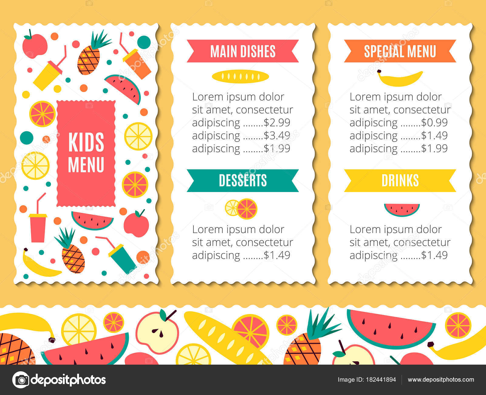 Kinder Menu Schablonen — Stockvektor © color885 #182441894