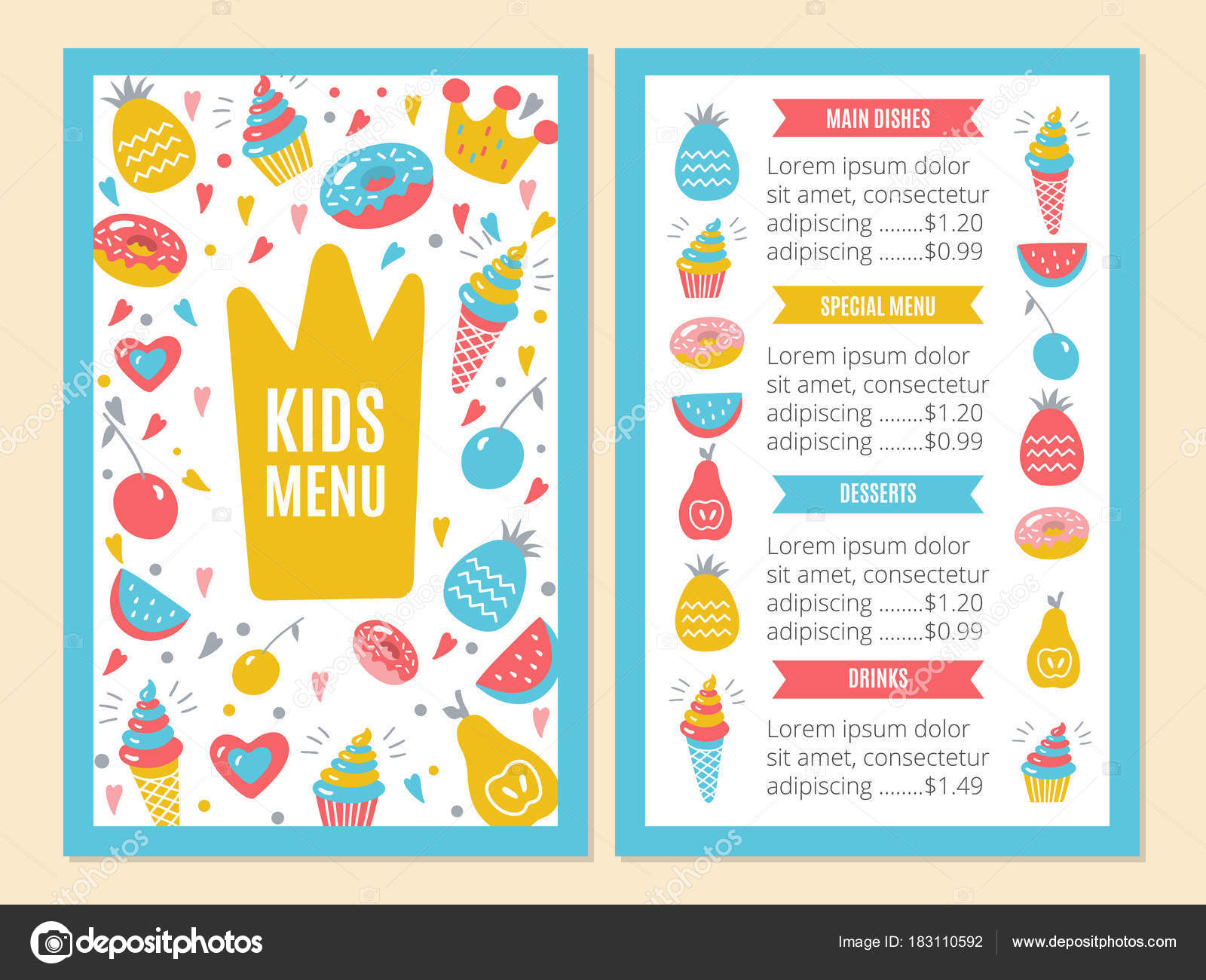 Kids Menu Template Stock Vector Color885 183110592