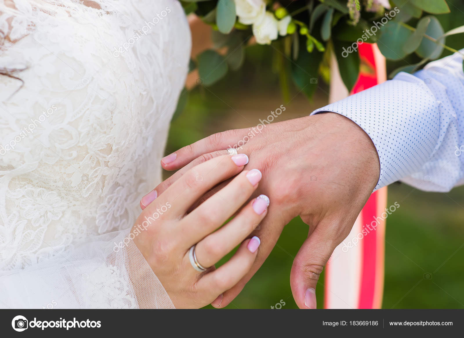 Close-up of hands of bride and goom — Stock Photo © 160275 #183669186