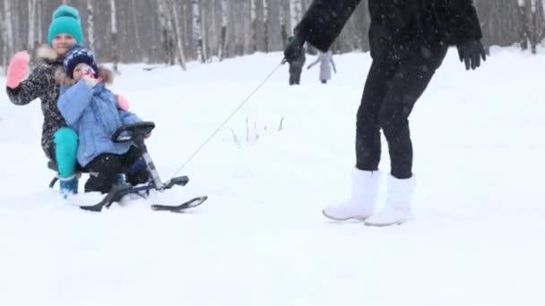 Weibliche Hand zerrt glücklichen Jungen und Mädchen bei Schneefall im Winterpark auf Schlitten nahe