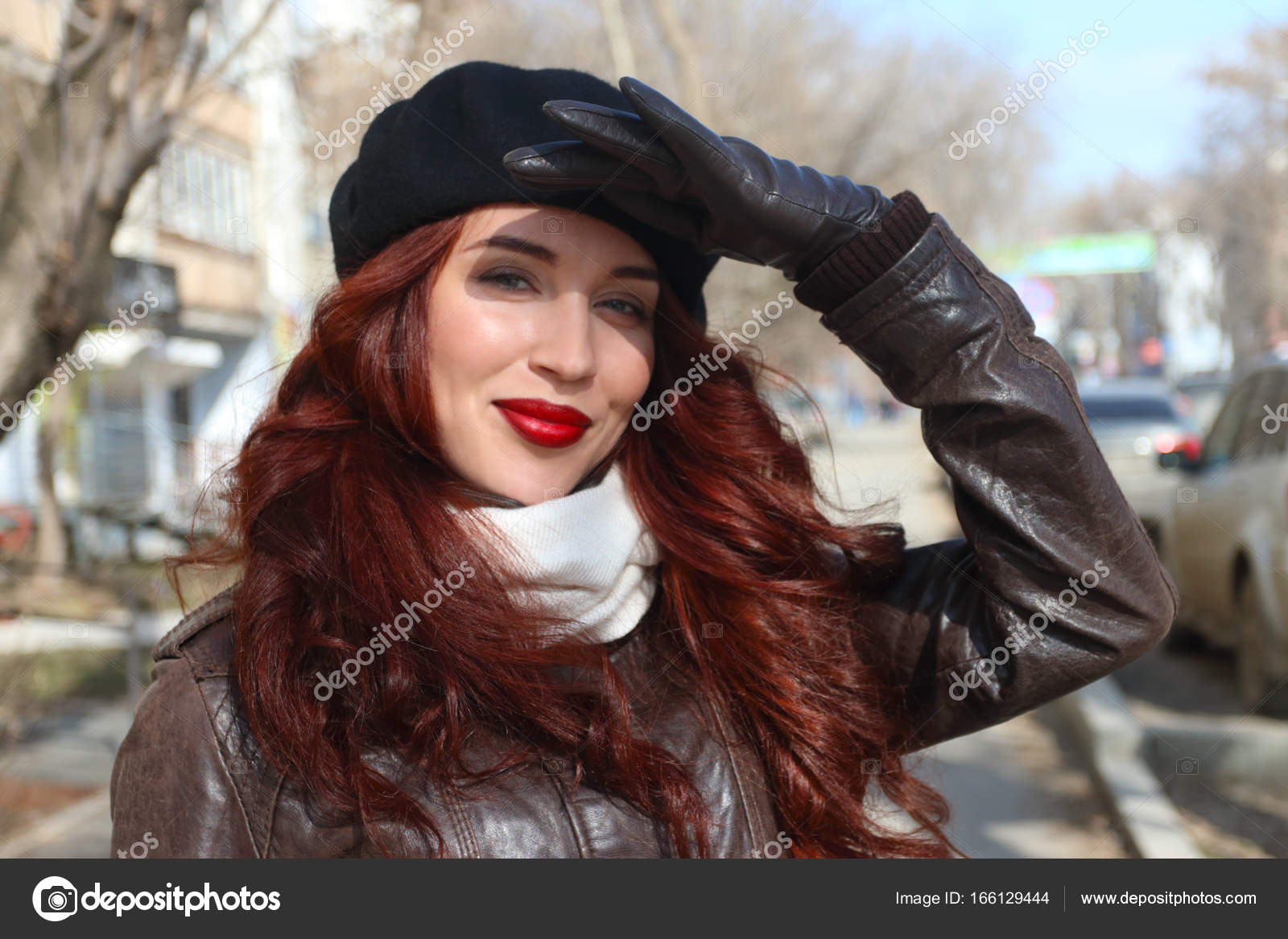 beauty lace up in ever popular Happy girl in leather gloves closes her eyes from sun on ...