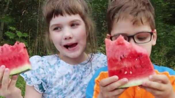 glückliche Jungen und Mädchen essen Wassermelone im grünen Sommerpark