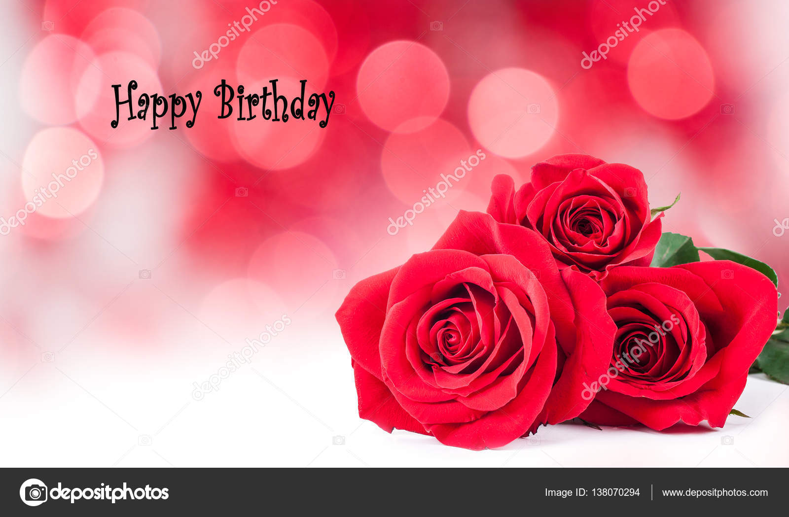 Birthday Cards With Red Roses Stock Image