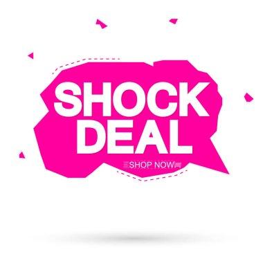 Shock Deal, sale speech bubble banner design template, discount tag, app icon, vector illustration