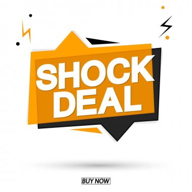 Shock Deal, sale speech bubble banner design template, discount tag, app icon, vector illustration