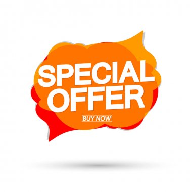 Special Offer, sale banner design template, discount speech bubble tag, vector illustration