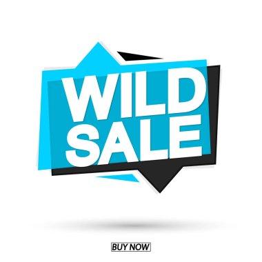 Wild Sale, tag design template, discount speech bubble banner, app icon, vector illustration