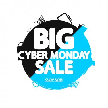 Big Cyber Monday Sale, banner design template, discount tag, grunge brush, vector illustration