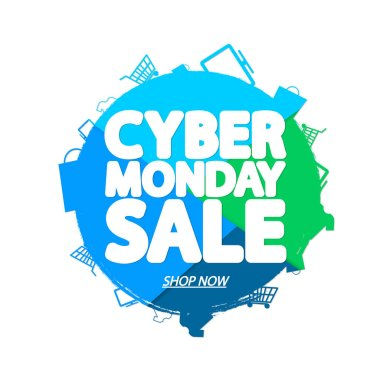 Cyber Monday Sale, banner design template, discount tag, grunge brush, vector illustration