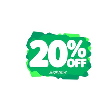 Sale 20% off, bubble banner design template, discount tag, vector illustration