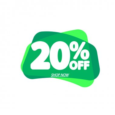 Sale 20% off, bubble banner design template, discount tag, vector illustration