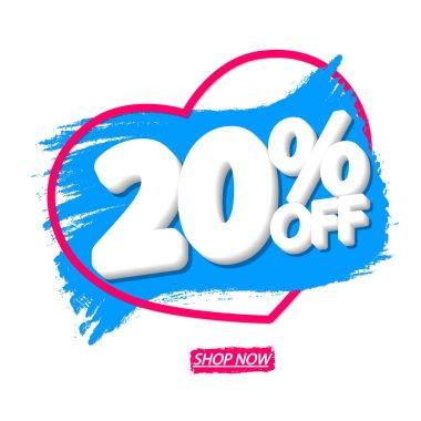 Sale 20% off, banner design template, discount tag, grunge brush, heart symbol, vector illustration