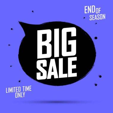 Big Sale, banner design template, discount tag, grunge brush, vector illustration