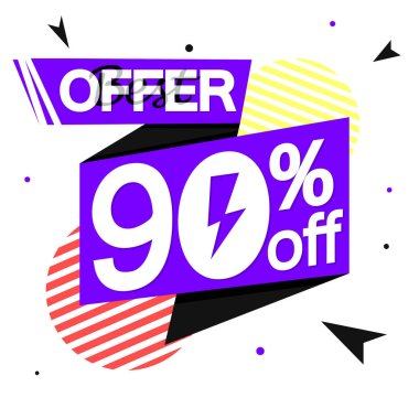 Flash Sale 90% off, banner design template, discount tag, vector illustration