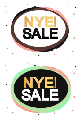 NYE Sale, banner design template, New Year Eve discount tag, special offer, vector illustration