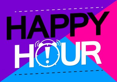 Happy Hour, sale tag, poster design template, discount isolated sticker, vector illustration