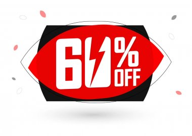 Sale 60% off, bubble banner design template, discount tag, flash offer, app icon, vector illustration