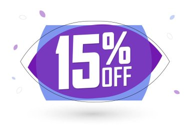 Sale 15% off, bubble banner design template, discount tag, vector illustration