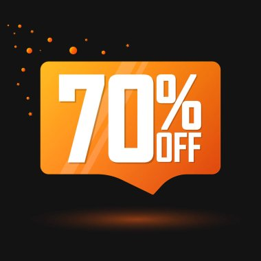 Sale 70% off, speech bubble banner, discount tag design template, vector illustration