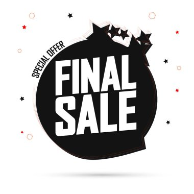 Final Sale, promotion tag design template, discount speech bubble banner, app icon, vector illustration