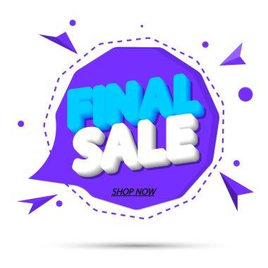Final Sale, promotion tag design template, discount speech bubble banner, app icon, vector illustration