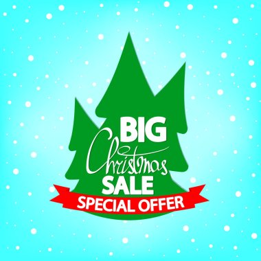 Big Christmas Sale, banner design template, Xmas discount tag, special offer, red ribbon, vector illustration
