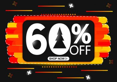 Winter Sale 60% off, special offer, banner design template, discount tag, app icon, vector illustration