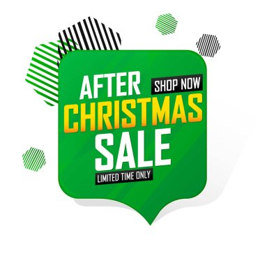 After Christmas Sale, speech bubble banner design template, Xmas discount tag, special offer, vector illustration