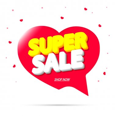 Super Sale, tag design template, discount speech bubble banner, app icon, vector illustration