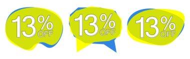 Set Sale 13% off bubble banners, discount tags design template, vector illustration