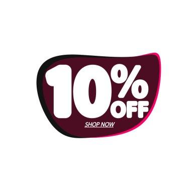 Sale 10% off, bubble banner design template, discount tag, vector illustration
