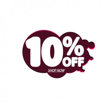 Sale 10% off, bubble banner design template, discount tag, vector illustration