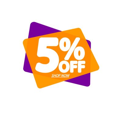 Sale 5% off, bubble banner design template, discount tag, vector illustration