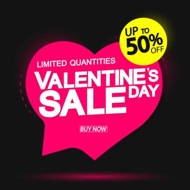 Valentine Day Sale up to 50% off, speech bubble banner design template, holiday discount tag, vector illustration