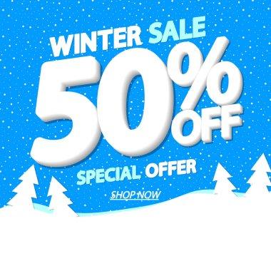 Winter Sale, poster design template, 50% off, special offer, vector illustration